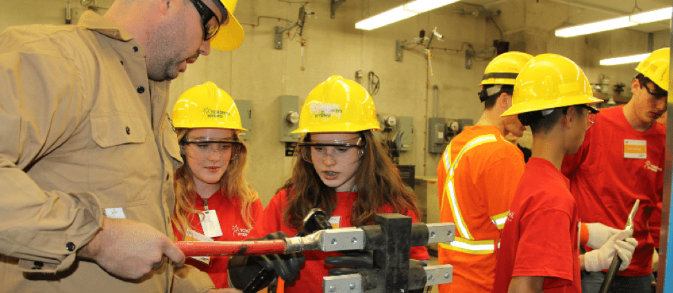 Grade 9 students gain hands on experience during a fleet demo at a previous Take Our Kids To Work Day
