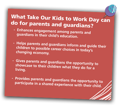 What Take Our Kids to Work Day can do for parents and guardians?  	-  Enhances engagement among parents and 										guardians in their child's education.  	-  Helps parents and guardians inform and guide their 					children to possible career choices in today's 									changing economy.  	-  Gives parents and guardians the opportunity to 							showcase to their children what they do for a 								living.  	-  Provides parents and guardians the opportunity to 					participate in a shared experience with their child.