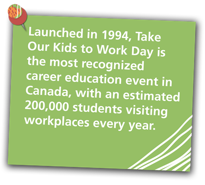 Launched in 1994, Take Our Kids to Work Day is the most recognized Career education event in Canada, with an estimated 200,000 students visiting workplaces every year on Take Our Kids to Work Day.